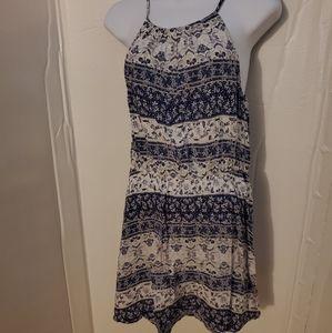 Blue floral high neck dress